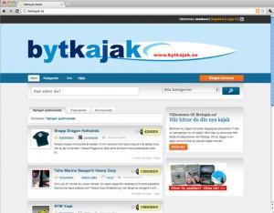 Skärmbild från Bytkajak.se