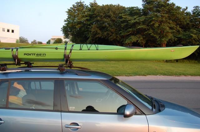 Kajak på biltak, lastning Thule