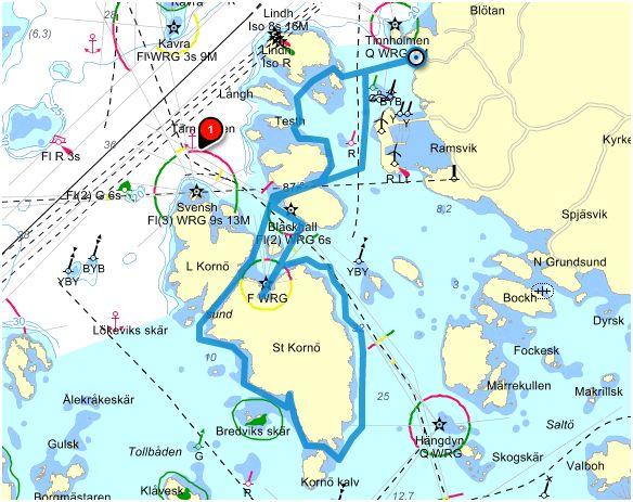 Paddlingsrutt Skalhamn-Kornö 7 km