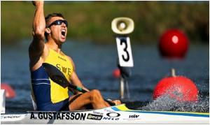 Anders Gustafsson kanotist vinnargest målgångsfoto. Fotorättigheter Anders Gustafsson.