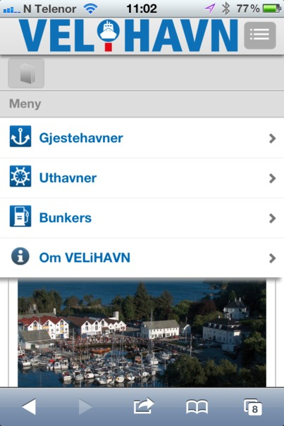 Velihavn kystguide app-meny