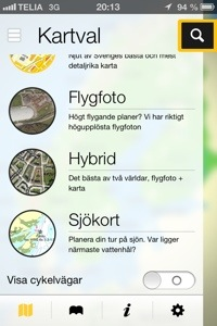 Cykelkartor i Eniro-appen