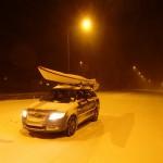 Paddla på vintern - snöig bilresa