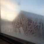 Rimfrost fönsterruta inifrån